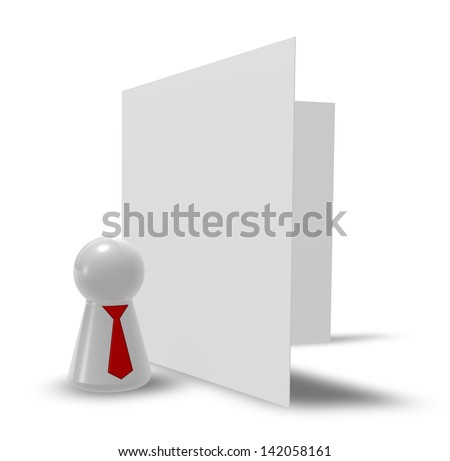 figure with tie and blank card on white background - 3d illustration - stock photo