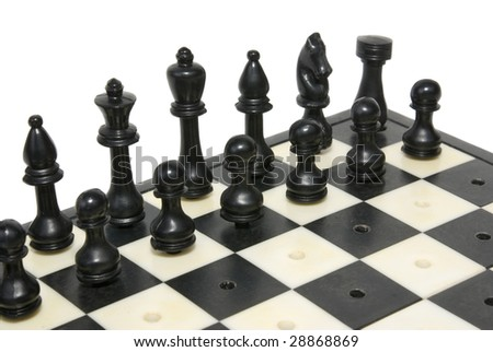 figures chess  on plank insulated on white background