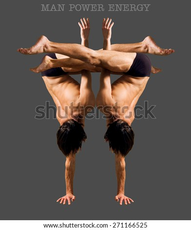 Figures gymnasts on a gray background.Athletes.Handstand.Color image. - stock photo