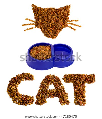 Figures made of cat food isolated on white - stock photo