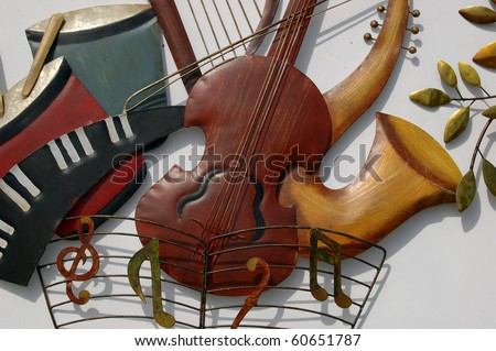 Figures Musical Instrument Craft in a shop of Andalusian - stock photo
