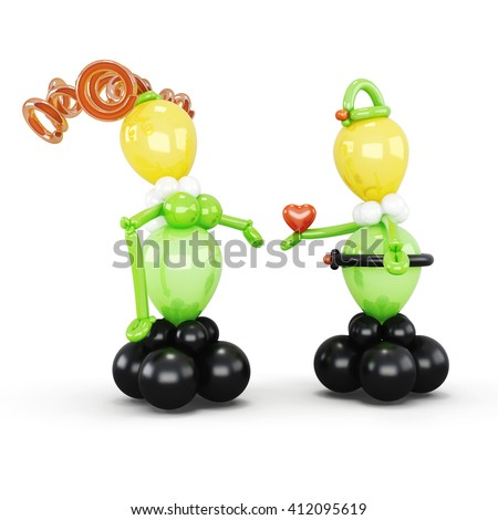 Figures of a boy and a girl from balloons on white background. 3d rendering.
