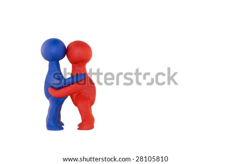 figures of clay hugging, isolated over white - stock photo