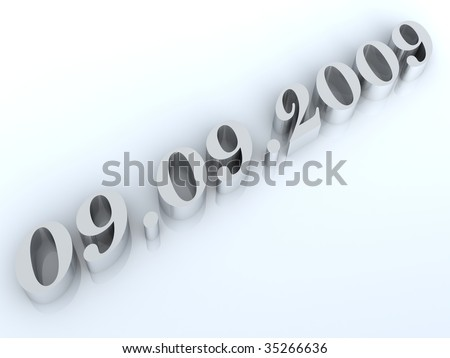 Figures of especial and unique date - September 9th, 2009 - stock photo
