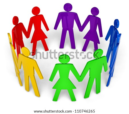 figures of men and women arranged in the circle on a white background - stock photo