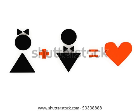 Figures of women and man in love isolated on the white background. Women plus man equally love, 3d illustration - stock photo