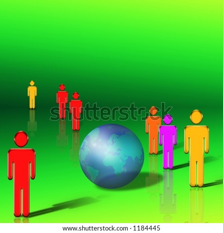 Figures stand around a transparent earth - stock photo