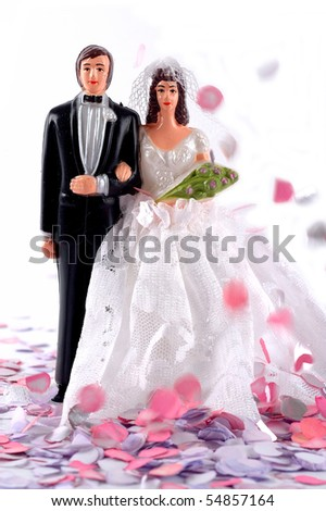 Figurine bride and groom - stock photo