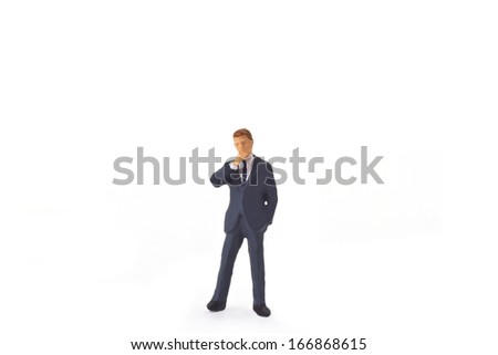 Figurine from Manager on white background - stock photo