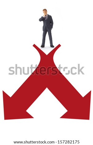 Figurine from Manager with red arrow on white background
