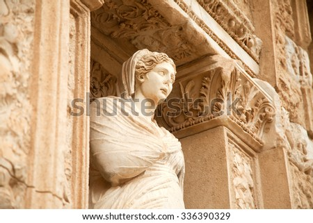 Figurine in Library of Celsus, ruins of ancient city Ephesus, Tu - stock photo