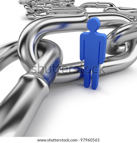 Figurine inside curly length of stainless steel chain links on a white background - stock photo
