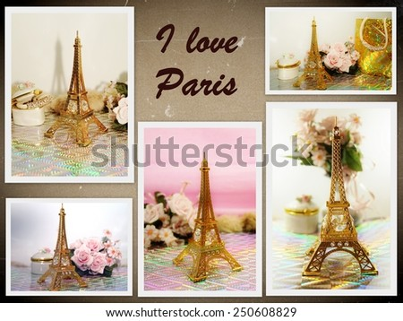 Figurine of The Eiffel Tower and flowers - vintage style - photo collage - stock photo