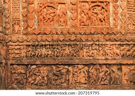 Figurines made of terracotta at Radhagobinda Temple, Bishnupur , West Bengal, India . - stock photo