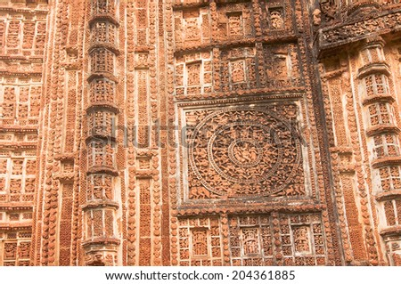 Figurines made of terracotta at Shyamroy Temple, Bishnupur , West Bengal, India . - stock photo