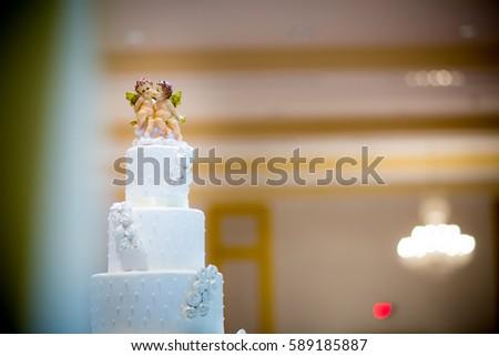 Figurines Cupids On Wedding Cake Symbol Stock Photo 589185887