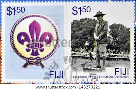 FIJI - CIRCA 2007: A stamp printed in Fiji dedicated to Lord Baden Powell, circa 2007 - stock photo