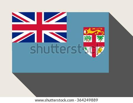 Fiji flag in flat web design style. - stock photo