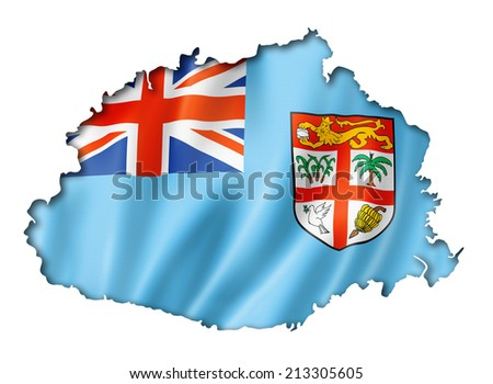 Fiji flag map, three dimensional render, isolated on white - stock photo