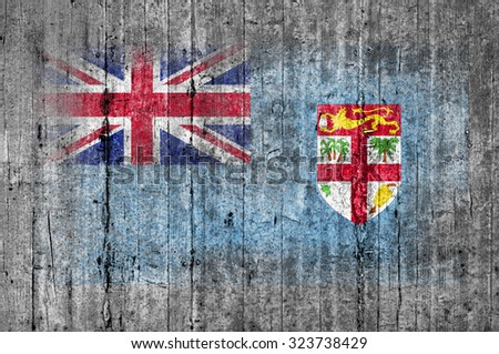 Fiji flag painted on background texture gray concrete - stock photo