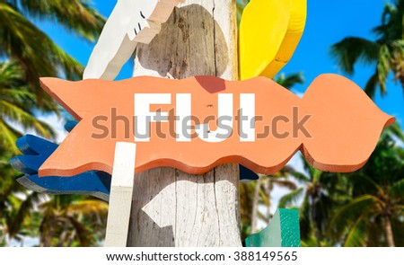 Fiji sign with palm trees on background - stock photo