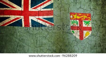 Fijian flag on a cracked grunge background - stock photo