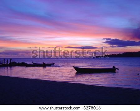 Fijian Sunset - stock photo