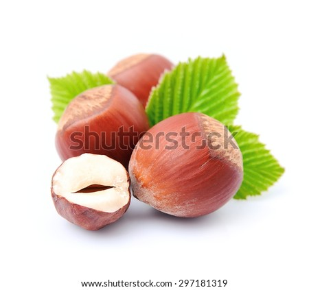 Filbert nuts with leaf on white background  - stock photo
