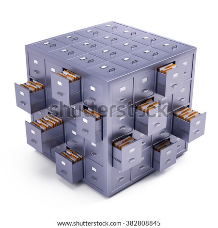 File cabinet cube isolated on white - stock photo