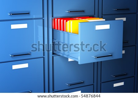 file cabinet 3d and colorful folder office image