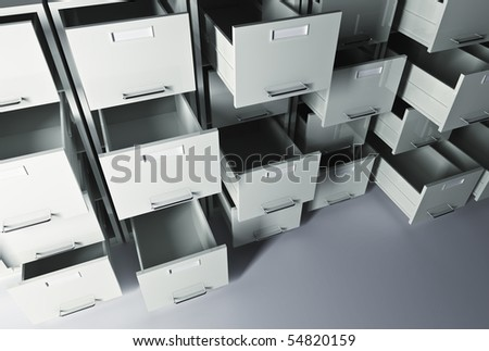 file cabinet 3d office business background - stock photo