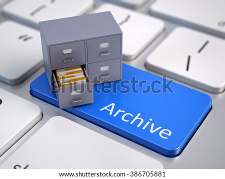 File cabinet on computer keyboard - archive concept - stock photo