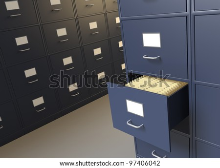 File cabinet room with an open drawer full of files xx - stock photo