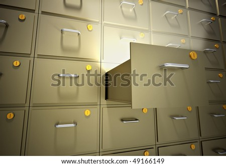 File cabinet with an open drawer - 3d render illustration - stock photo