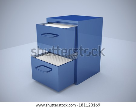 File cabinet with an open drawer with folders - 3d render