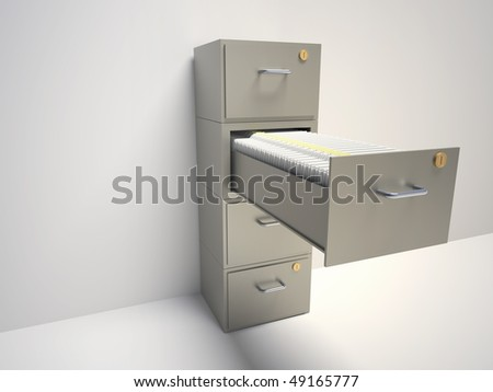 File cabinet with an open drawer with folders - 3d render illustration - stock photo