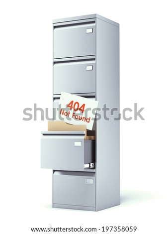 file cabinet with error isolated on a white background - stock photo