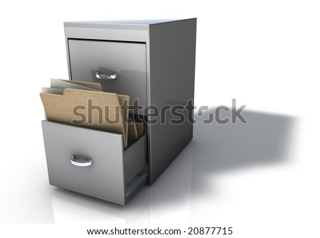 File Cabinet with folders - stock photo