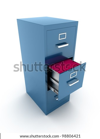 File cabinet with open drawer - stock photo