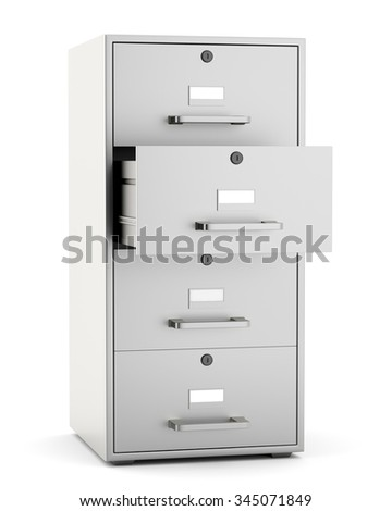 File cabinet with open drawer isoalted on white background. 3d render - stock photo