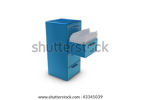 File cabinet with opened drawer - stock photo