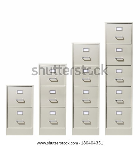 File cabinets of increasing size on white background  - stock photo