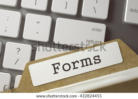 File Card  Forms Overlies White Modern Computer Keyboard. Business Concept. Forms. Folder Index Overlies Computer Keyboard. Business Concept. Closeup View. Toned Blurred  Illustration. 3D Rendering.