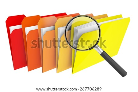 File. 3D. Search folders or archive - stock photo