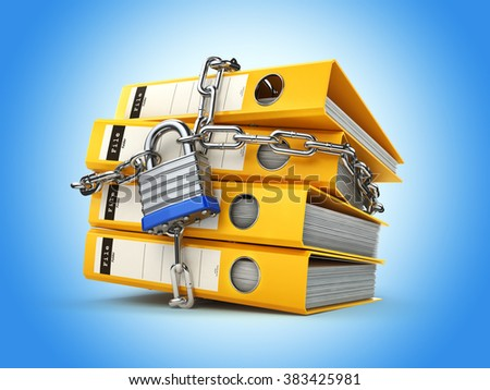 File folder and chain with lock. Data and privacy security. Information protection. 3d - stock photo