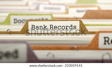 File Folder Labeled as Bank Records in Multicolor Archive. Closeup View. Blurred Image.