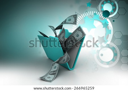 File folder with currency