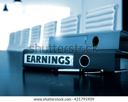 File Folder with Inscription Earnings on Black Desktop. Earnings - Illustration. Earnings - Business Concept on Blurred Background. Earnings - Binder on Wooden Working Desk. 3D Render. - stock photo