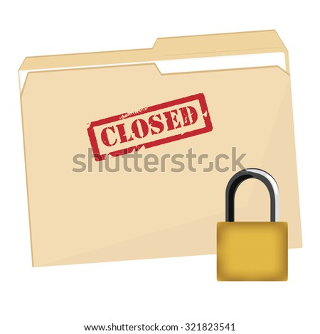 File folder with red rubber stamp closed raster icon and lock security icon, closed file folder, protection - stock photo