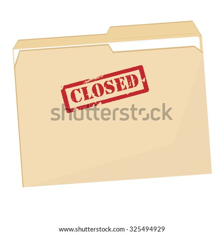 File folder with red rubber stamp closed raster icon isolated on white